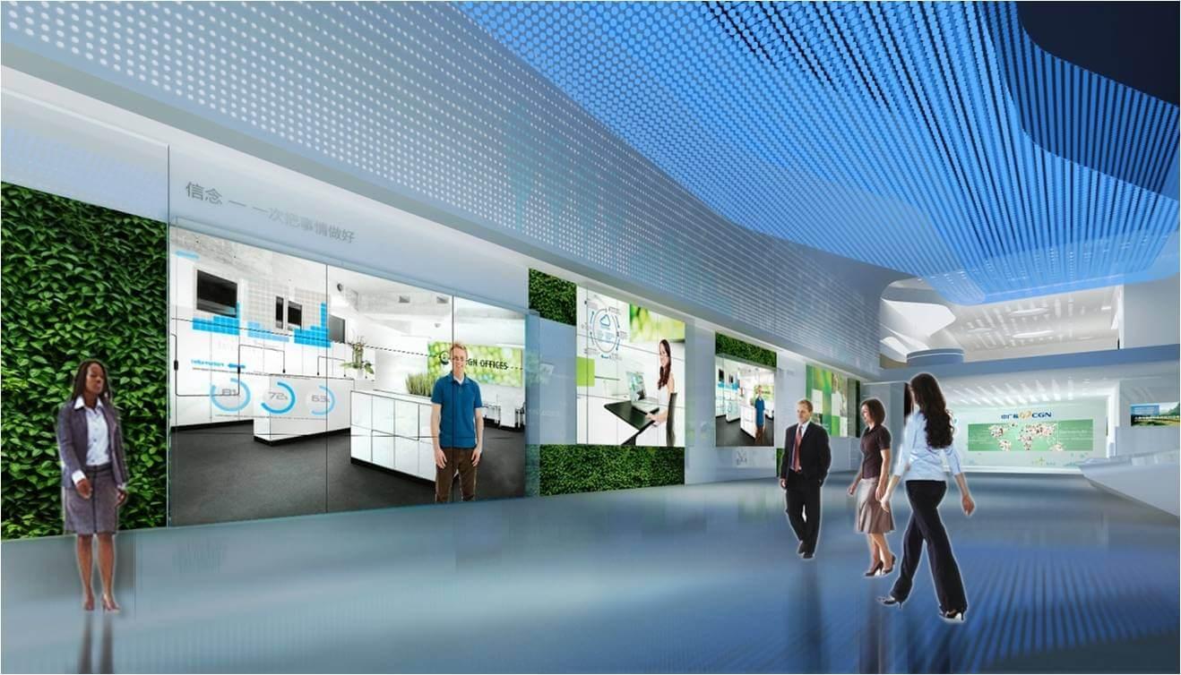 我们充分利用层高优势,将纵向空间划分为三部分,顶部科技光纤,点缀蓝色气息;上层墙面借助简约雕刻板印刻绿色能源符号,营造简约氛围;下部主视觉区域,展示大亚湾基地的成就硕果和发展远景。  同时,设置互动展项,底部复原大亚湾基地素色物理模型,结合多层次阵列投影幕,打造整体结构投影空间,阵列影像与模型投影相辅相成,生动介绍大亚湾基地概况信息。