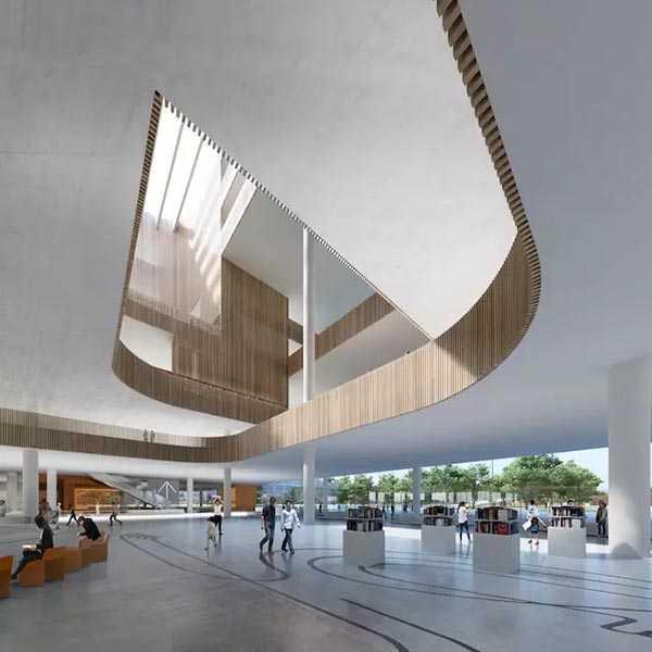 几何状堆叠效果的设计,与 2015 年建成的丹麦 dokk1 多媒体图书馆和 2
